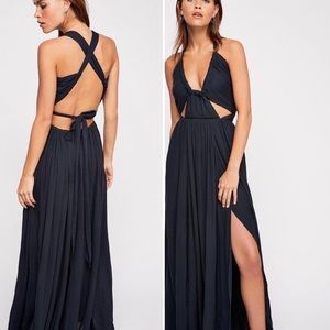 Free People Black Issa Cutout Tie Maxi Dress